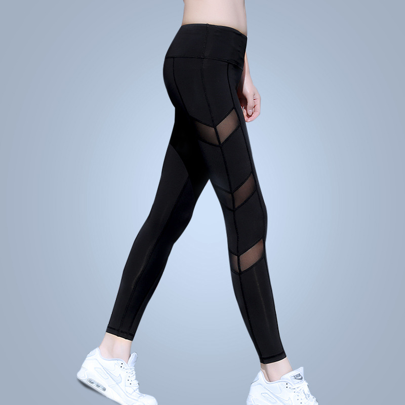 Eshtang Women tight Solid Sports yoga net yarn Trousers Fitness Gym tight Mesh Patchwork Pants Size XS-XL Free shipping брюки accelerate tight