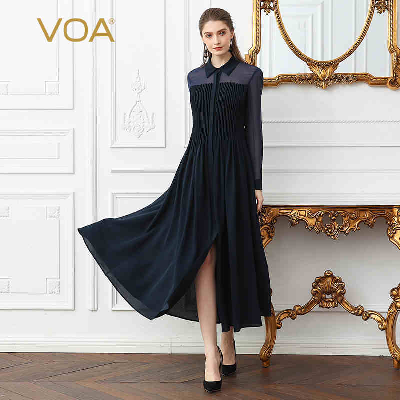 VOA Heavy Silk Plus Size Women Shirt Long Dress Sexy Mesh ...