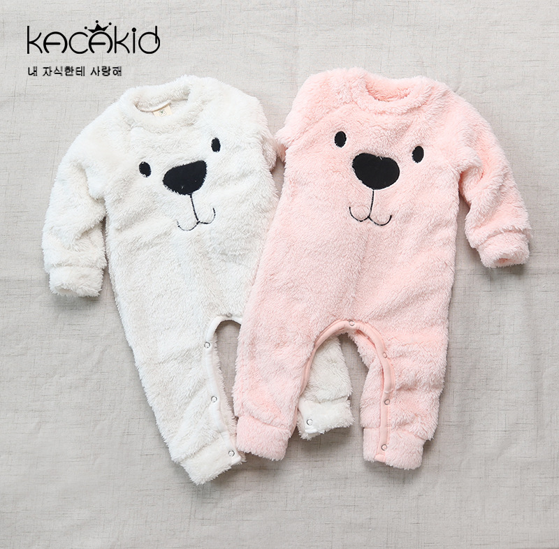 Kacakid Winter Children Lovely Bodysuit Boys Girls Plush Clothes Baby Bear Thick Cute Comfortable Long Sleeve Jumpsuit Clothing