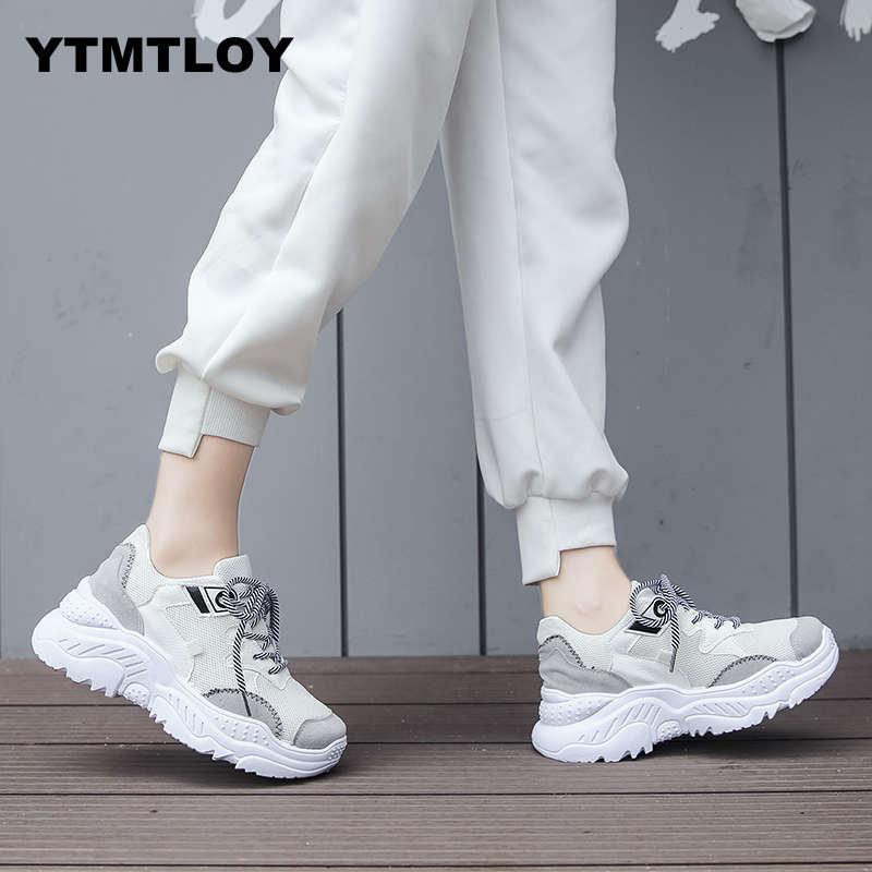 2019 Women Shoes Fashion Tenis Feminino Dad Platform Chunky Sneakers Breathable Mesh Woman Casual Sneaker White Zapatillas