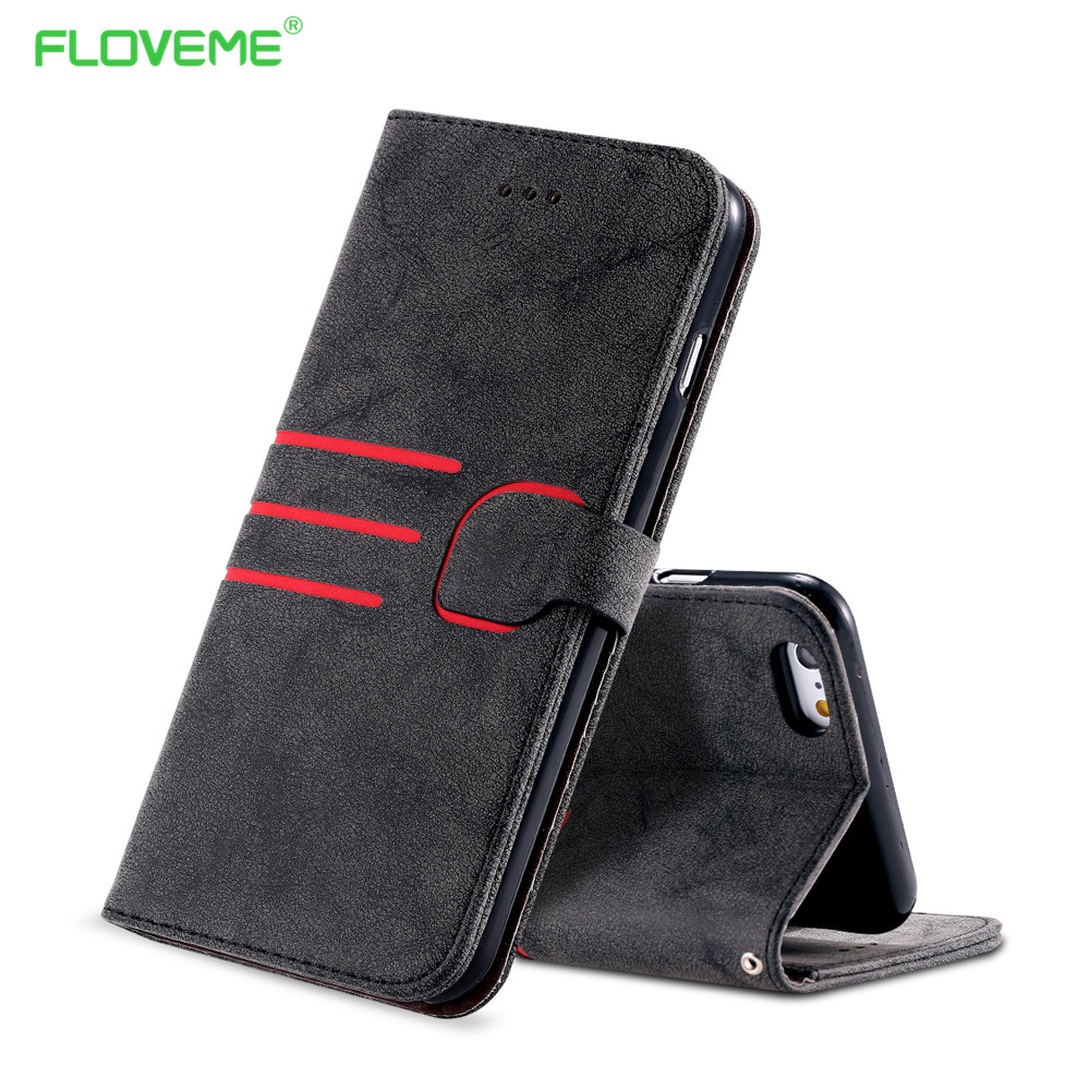 FLOVEME Retro Matte Wallet Leather Case For Apple iPhone 6 6s / 7 Plus 5.5 Flip Stand +Card Slot Photo Frame Cover Holster Capa