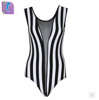 DS Womens Fashion Black and White Striped Sexy DJ Dancewear Performance Chinese Dance Costumes Stage Costumes For Singers dress