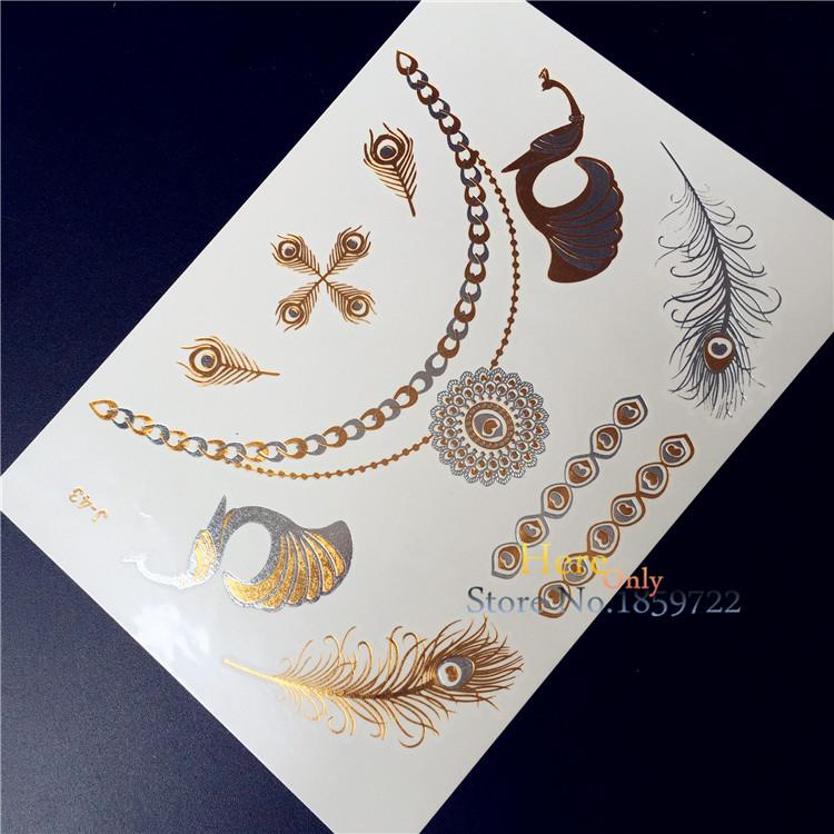 unid caliente mujeres joya de plata de oro metlico tatuaje de henna india pluma de