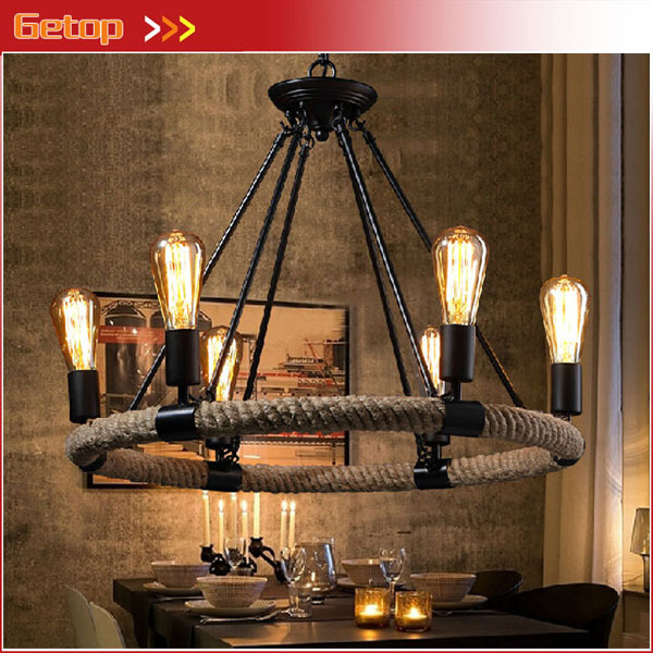 Best Price Vintage American Country Rope Ceiling Lights Rustic Iron Hemp Light Retro Cafe