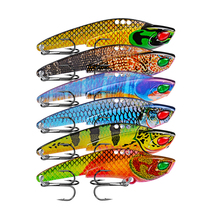 1Pcs Metal VIB Lures 22G/77mm vivid Vibrations Spoon Lure Fishing bait Bass Artificial Hard Bait Cicada lure 3D Eyes