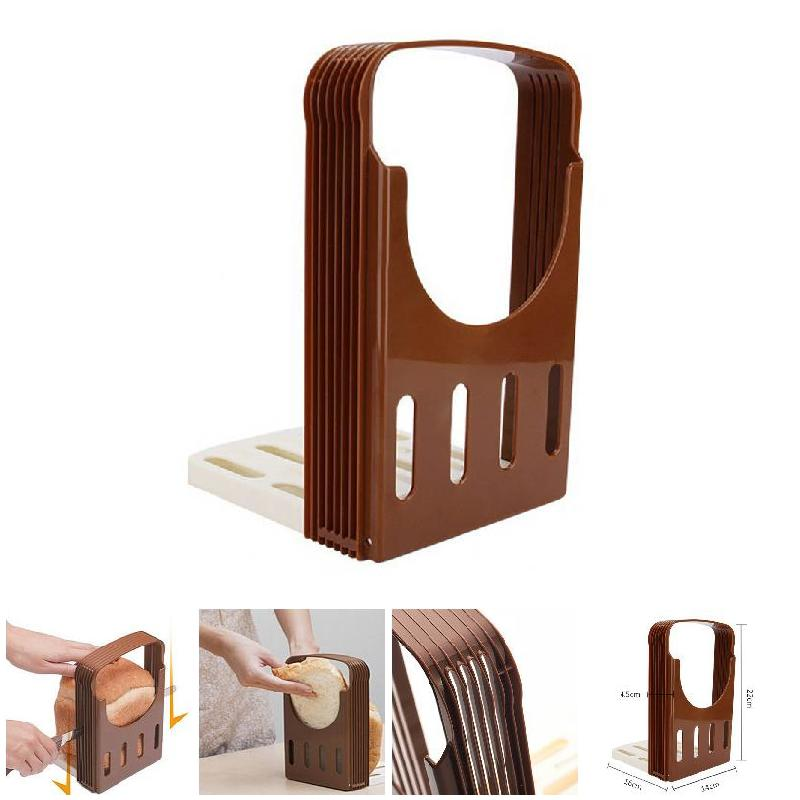 Newly Toast Bread Slicer Plastic Foldable Loaf Cutter Rack Cutting Guide Slicing Tools Kitchen Accessories TE889