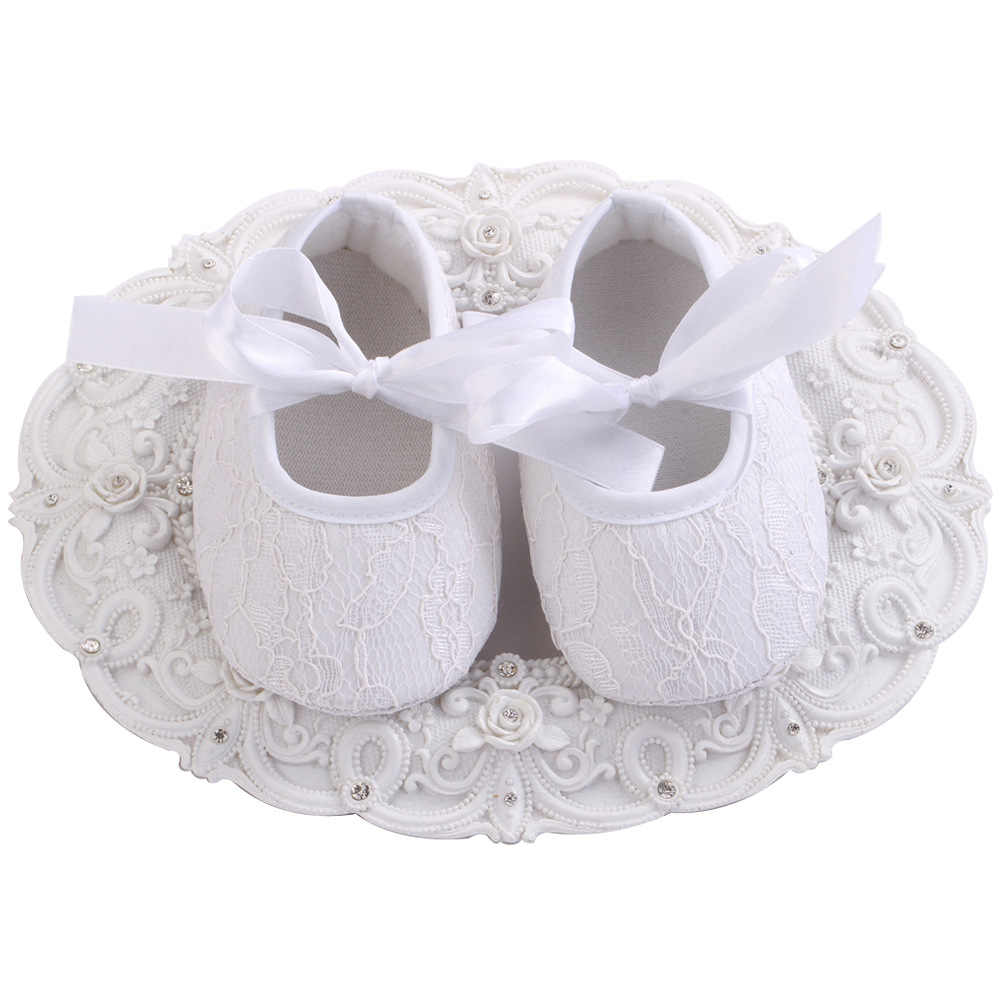 Spring Autumn Baby Shoes Kids Lace Cotton Cloth First Walker Anti-slip Soft Sole Infant Newborn Toddler Shoes Baptism White Shoe