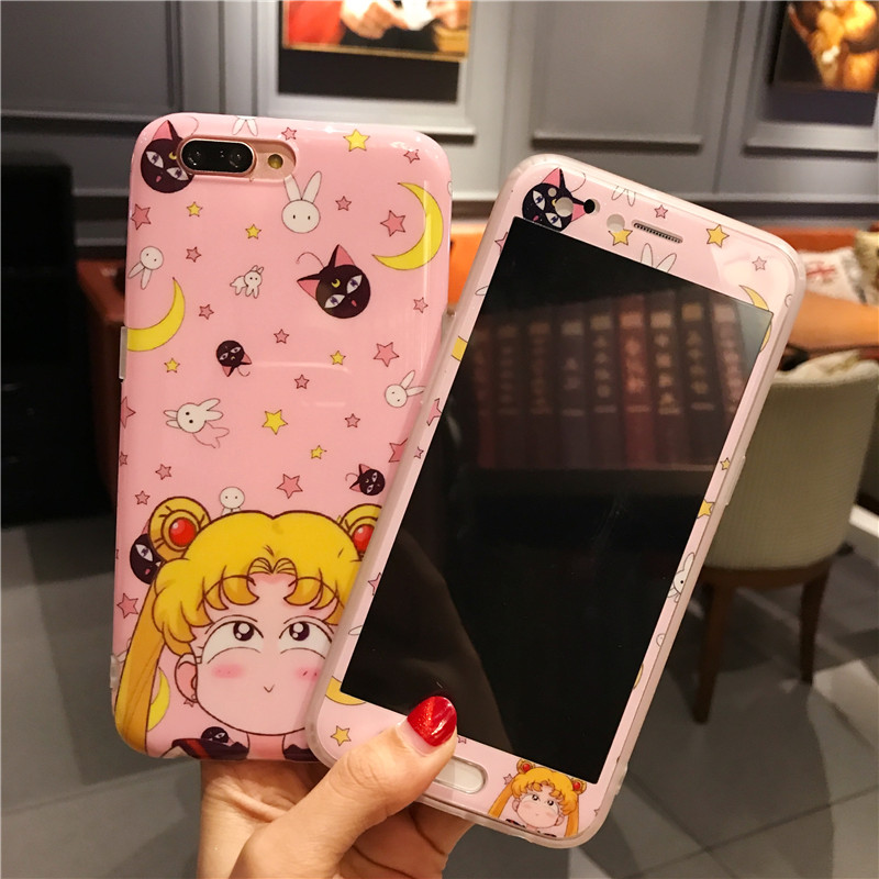 For iphone 7 7plus Cute Sailor Moon phone Cases Cover + Tempered Glass Screen Protector FLim for iPhone 6 6sPlus 8 8plus Fudas