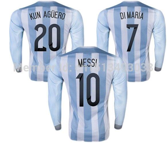 camisetas de futbol Messi Argentina Jersey Long Sleeve 2015 Argentina  Football Shirt MESSI KUN AGUERO DI MARIA Soccer Jersey a98aba471299
