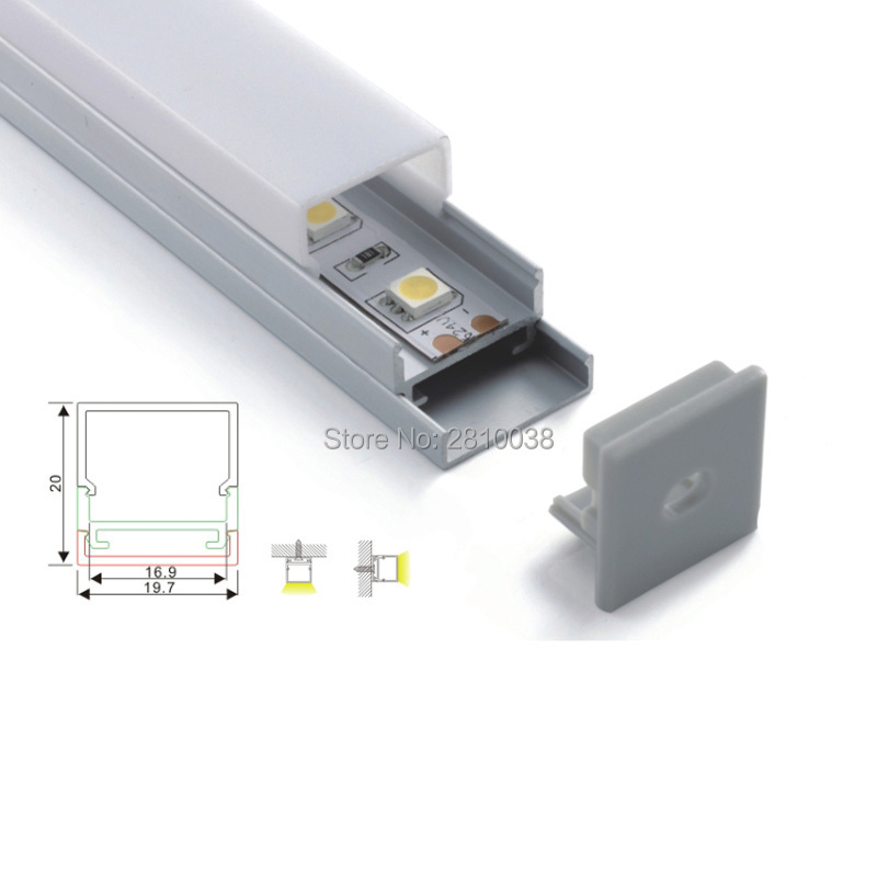 100 X1M Sets/Lot Customized length led aluminum profile and square type alu led channel for ceiling or wall lamps