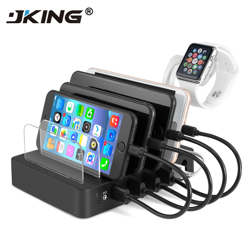 JKING Multiport USB Charging Station Dock 6 Ports Type C USB PD Charger for New Macbook iPhone iPad Cell Phone Tablets
