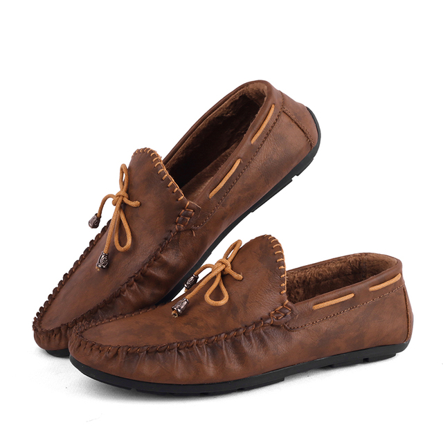 US $48.6 |Männer Bootsschuhe Marke Slip On Casual Driving Schuhe Top Sider Atmungs Echtem Leder Loafer Slip on Mokassins Marineblau Tan in Männer