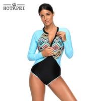 Hotapei sexy zipper swimwear Aztec Print Blue Rashguard Long Sleeve One Piece Swimsuit L410480 women retro Monokini Bathing suit