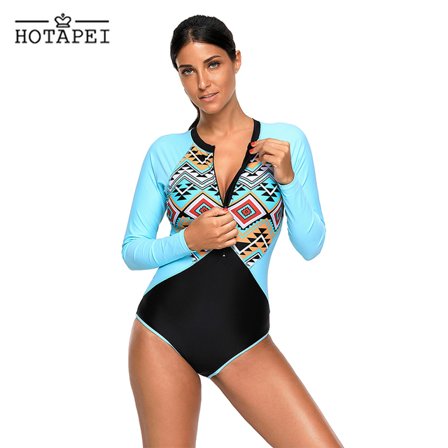 8bfa83ed922 Hotapei sexy zipper swimwear Aztec Print Blue Rashguard Long Sleeve One  Piece Swimsuit L410480 women retro