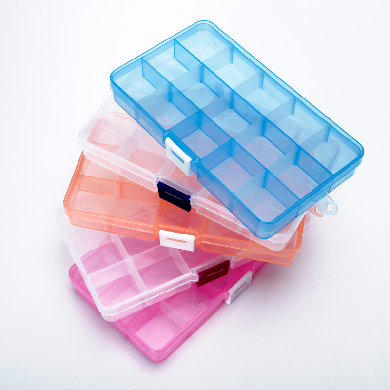 15 Grids Jewelry  Transparent Plastic Storage Box For Small Component  Tool Box Bead Pills Organizer Nail Art Tip Case