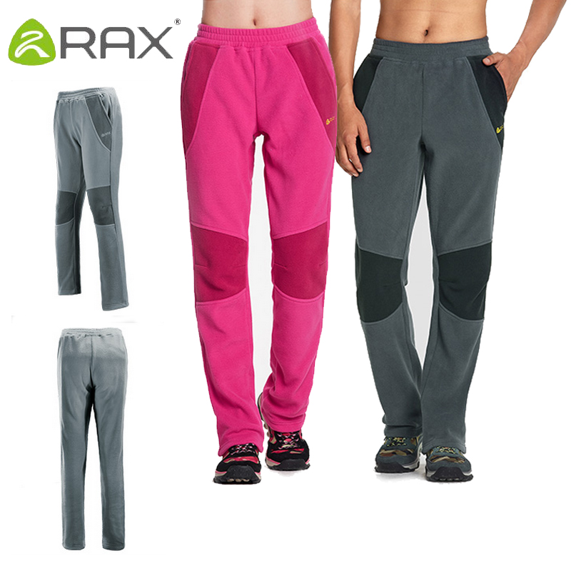 Rax 2017 Thermal Fleece Hiking Pants For Men Women Winter Outdoor Sports Warm Fleece Trousers Winter 280g Fleece Camping Pants