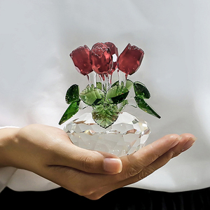 Image 4 - H&D Crystal Red Rose Flower Figurine Spring Bouquet Sculpture Glass Dreams Ornament Home Wedding Decor Collectible Gift Souvenir