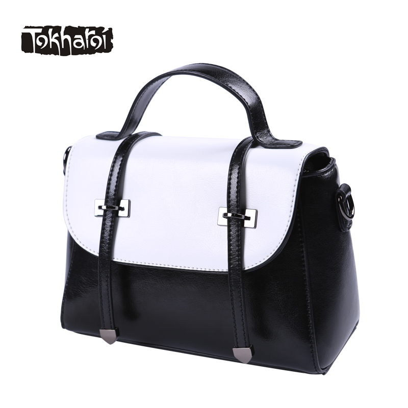 Tokharoi Brand Women Quality Leather Bags Female Black and White Patchwork Cover Handbag Fashion Original Design Tote 2017 New