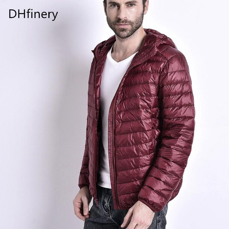 DHfinery Men Winter Jacket Ultra Light White Duck Down Jackets Casual Hooded Winter Coat For Men Down Parkas Plus Size M-5XL