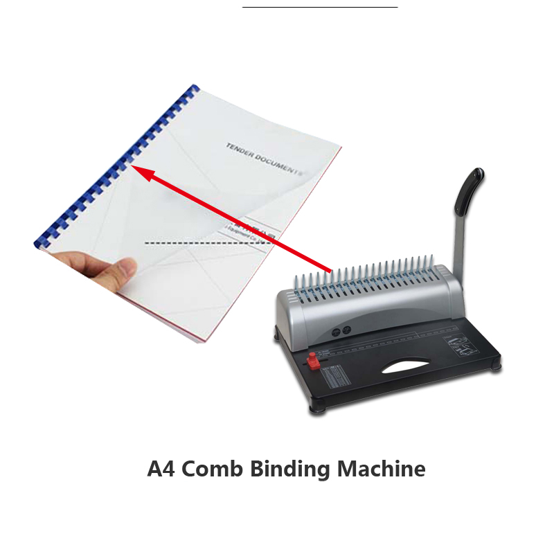 A4 size book binding machine 21 holes Puncher Binding Combs Punching Machine Comb Binding Machine book binder 50 pcs aprons free a4 size comb type binding machine mars 230 manual rubber ring clamp dual use machine 21 hole file punch binding machine 1pc