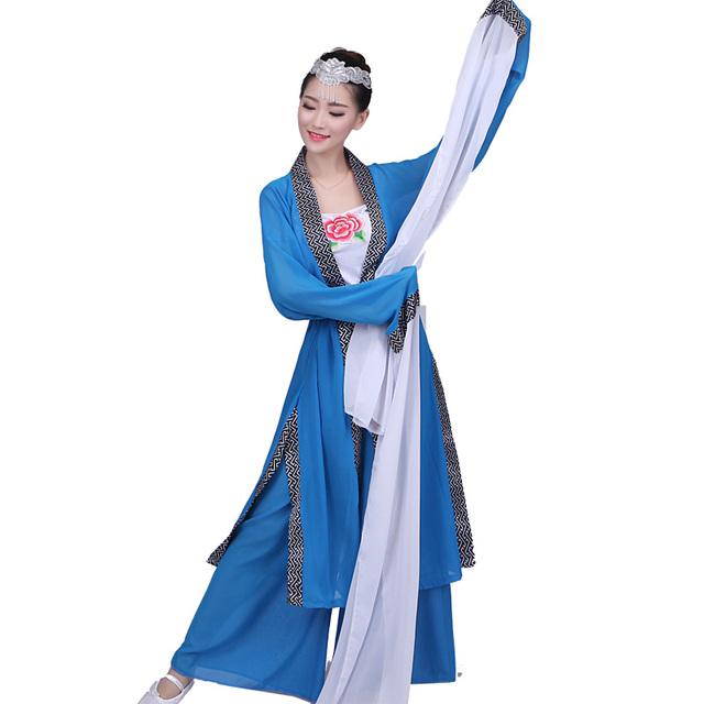 Mangas Trajes de Mangas Largas de la Ropa de Danza Clásica De Agua chino Ventilador de La Poesía de Hadas Traje del Funcionamiento de la Etapa