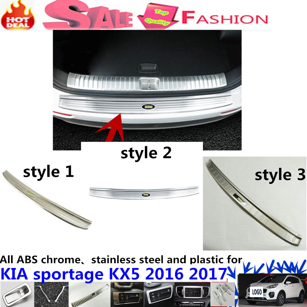 High Quality car body external Rear Bumper trim Stainless Steel Scuff Sill trunk plate pedal 1pcs For Kia Sportage KX5 2016 2017
