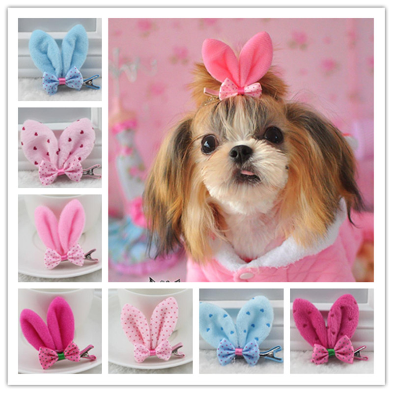 font b Pet b font Grooming Accessories Bunny style Dogs Headwear Hairpin Yorkshire flower Hair