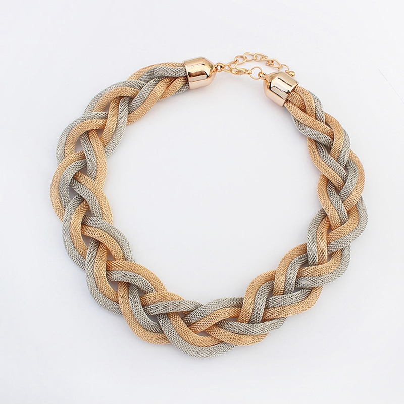 new fashion Bohemian style Punk Fashion Simple Metal braid Twist Chain necklaces & pendants womans Necklace