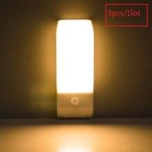 Luces LED con Sensor de movimiento PIR, 3 uds., luz de noche de armario, tira flexible de alimentación por pila AAA, para armario, escaleras