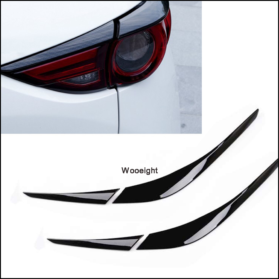 4Pcs Carbon Fiber Rear Tail Light Lamp Cover Trim Strip Taillight Molding Garnish Frame Eyelid For <font><b>Mazda</b></font> <font><b>CX5</b></font> CX-5 2017 2018 image
