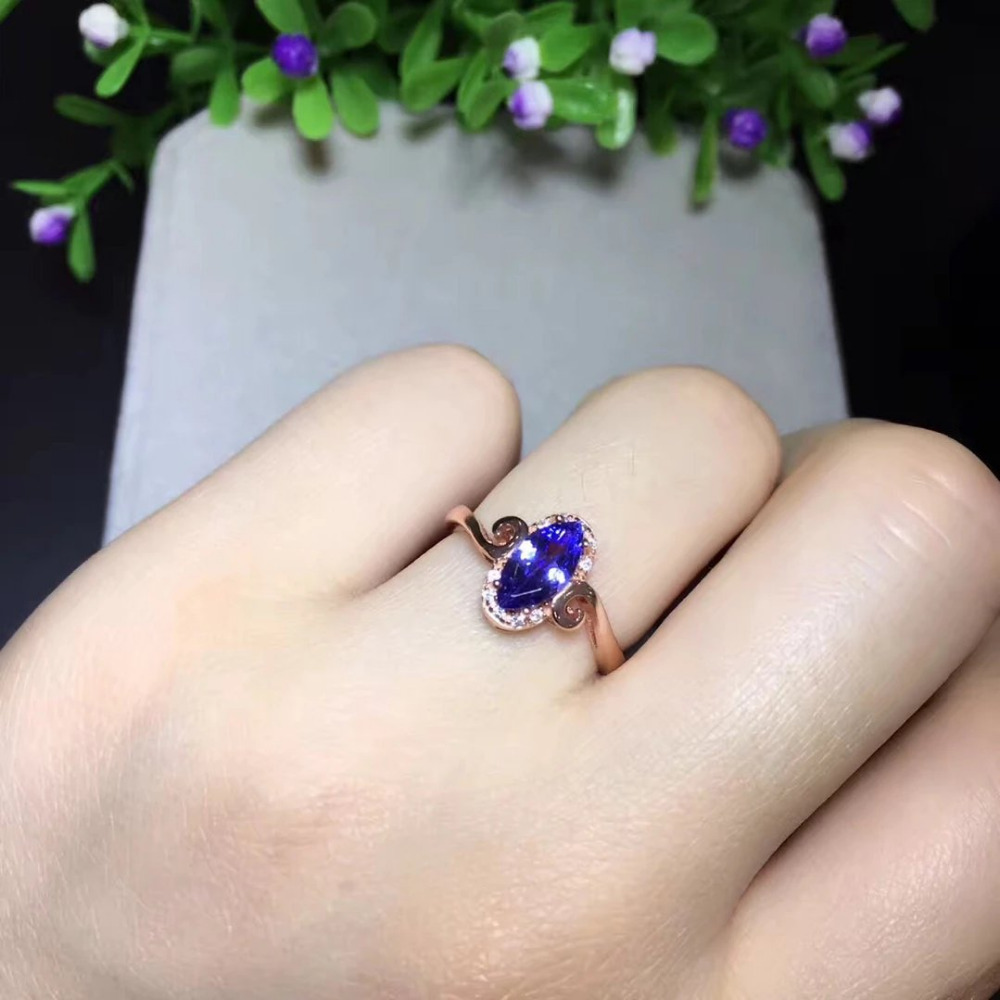 2017 Rushed Sale Qi Xuan_Fashion Jewelry_Blue Stone Simple Rings_Rose Gold Color Blue Stone Woman Rings_Factory Directly Sales 2017 rushed qi xuan red stone bangles