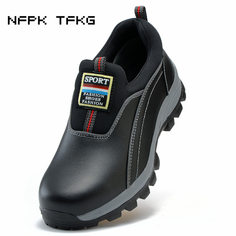 large size woman breathable casual steel toe cap work safety shoes slip on non-slip anti-puncture genuine leather tooling boots big size men casual breathable steel toe cap working safety shoes soft leather non slip tooling security boots protective zapato