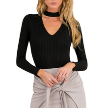 Autumn Winter Black Halter Women Knitted Sweater White Sexy Pullover Women Tops Slim V Neck Long Sleeve Chic Jumper Pull Femme(China)