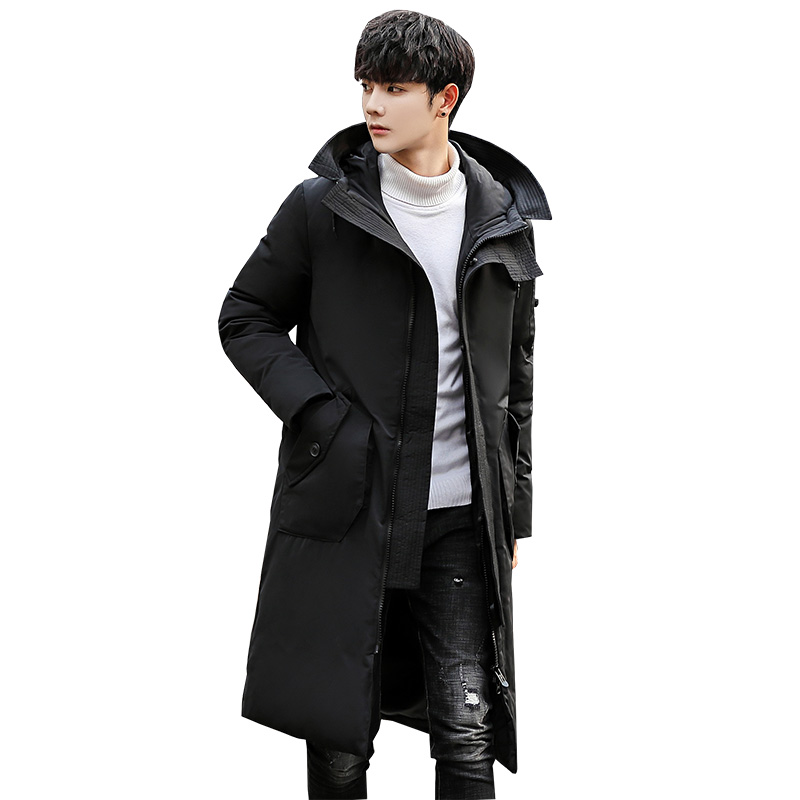 B Down Jackets Male Thick Fashion Puffer Jacket Hooded Long Winter Duck Down   Parkas   Men Casual Clothing Outwear plus size 3XL