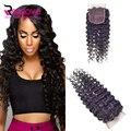 8a ella hair products onda profunda brasileña de la onda profunda lace closure parte libre del pelo brasileño, medio, 3 Vías de cierre del pelo humano