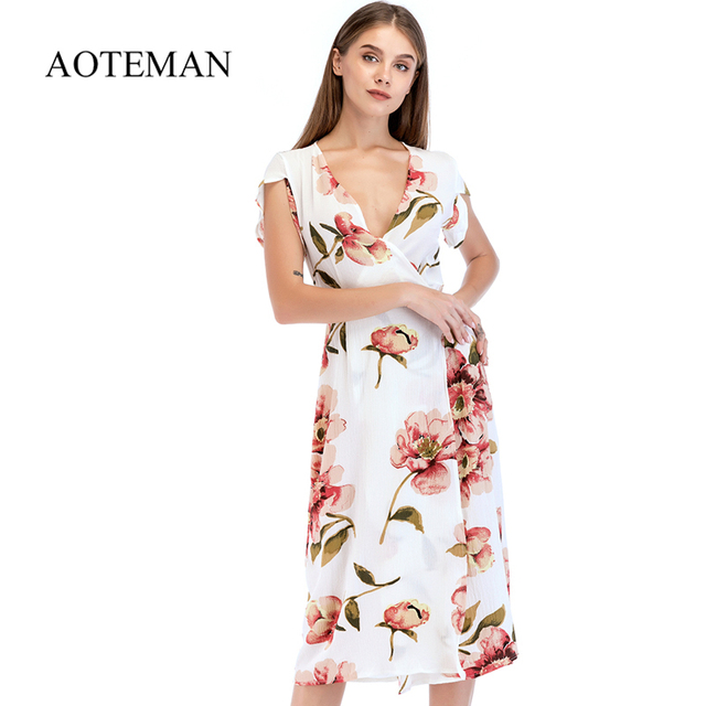 f51401d2682e7c AOTEMAN Casual Summer Women Dress Slim Vintage V-Neck Boho Long Floral Print  Dress Female Elegant Beach Party Dresses Vestidos