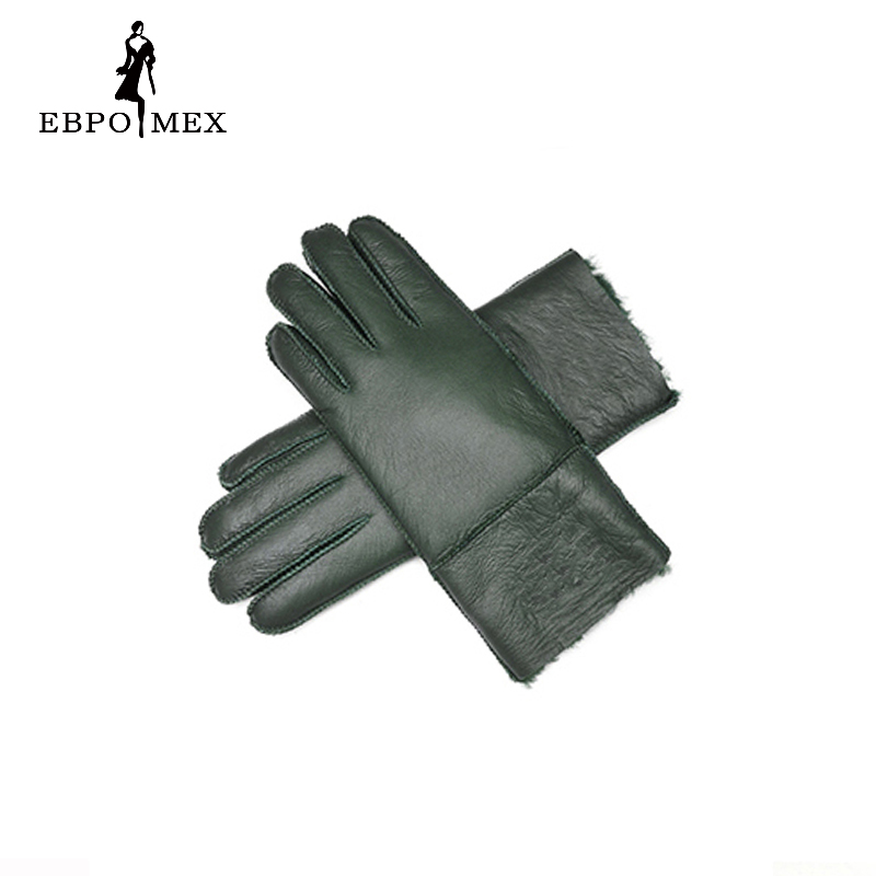 Leather gloves women's sheepskin fur War
