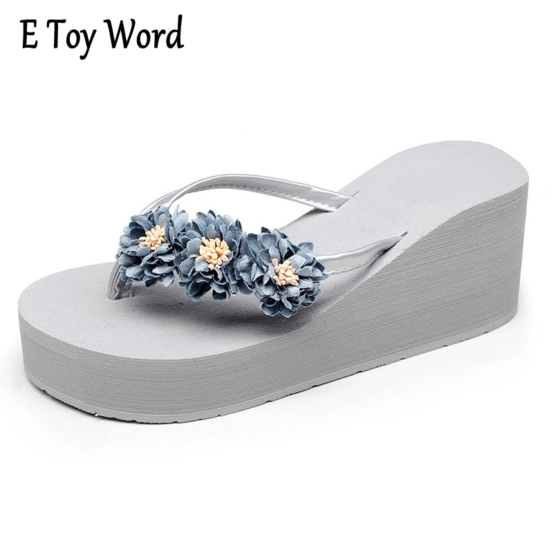 E TOY WORD Beach Flowers Flip Flops 2017 New Wedges Sandals Casual Platform Shoes Woman Slip On Creepers Flats Slippers XWT570 lanshulan bling glitters slippers 2017 summer flip flops shoes woman creepers platform slip on flats casual wedges gold