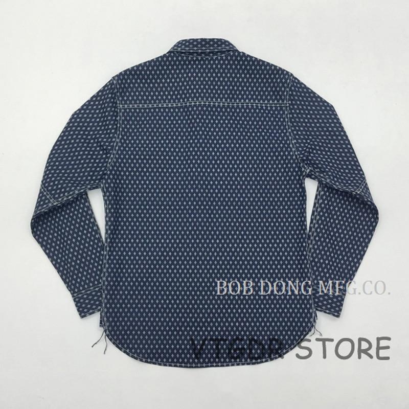 Erkek Kıyafeti'ten Rahat Gömlekler'de Bob Dong 1920 s Wabash Indigo Iş Gömlek Vintage Düğme Aşağı Uzun Kollu Casual Gömlek'da  Grup 2