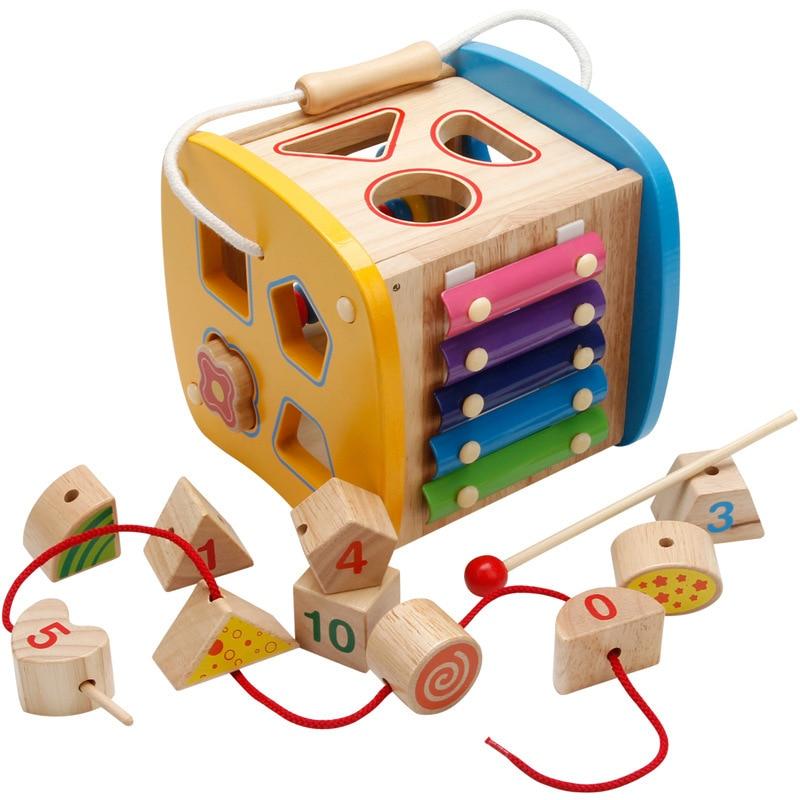 Multi-fonction forme boîte jouet contient Xylophone Abacus assemblage blocs de construction bébé début de la tête formation Montessori jouets