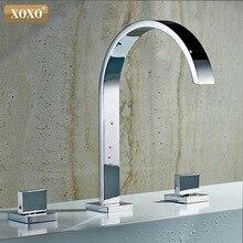 Смеситель для раковины, кран для ванной комнаты, установка, квадратное отверстие, 3 двойные ручки, медный кран для горячей и холодной воды, tap33310