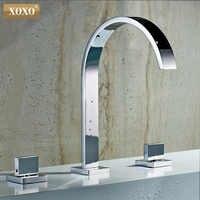 洗面台の蛇口浴室の蛇口インストール角穴 3 ダブルハンドル銅温水と冷水 tap33310