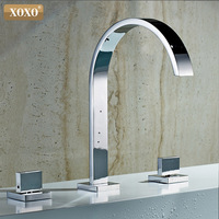Basin faucet deck bathroom faucet installation square hole 3 double handle copper hot and cold water tap33310