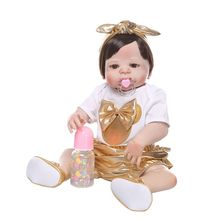 New 56cm Reborn Doll Realistic Full Silicone Vinyl Newborn Babies Toy Girl Princess Clothes Pacifier Lifelike Handmade Gifts 23 inch lifelike reborns silicone vinyl full body babies dolls 57 cm realistic newborn doll gold hair reborn girl princess gifts