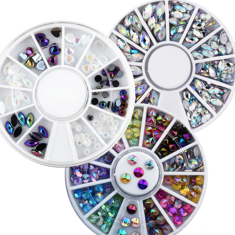 1 Wheel Nail Rhinestones For Nail Crystal Stones Glass/Acrylic/Alloy Nail Stones Gems For Nail Art Jewelry Manicure Tips X%(