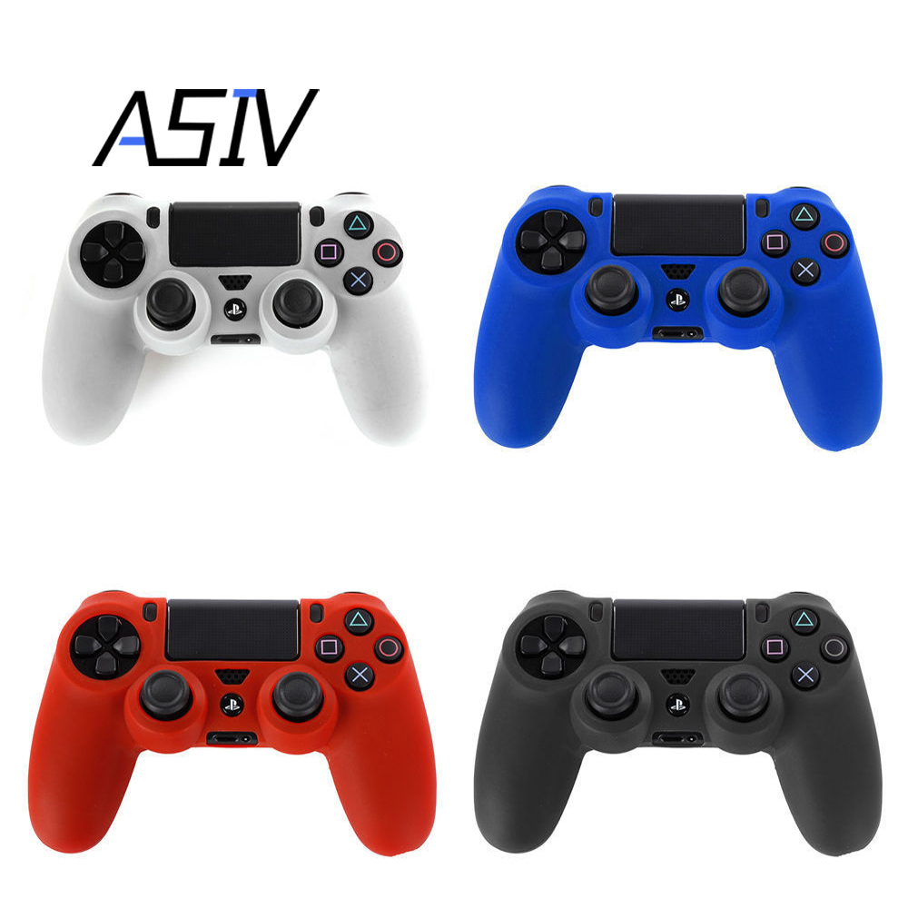 4pcs/1set Cool Camouflage Soft Silicone Cover Case Protection Skin for Sony Playstation 4 Dualshock Controller PS4 Console Decal