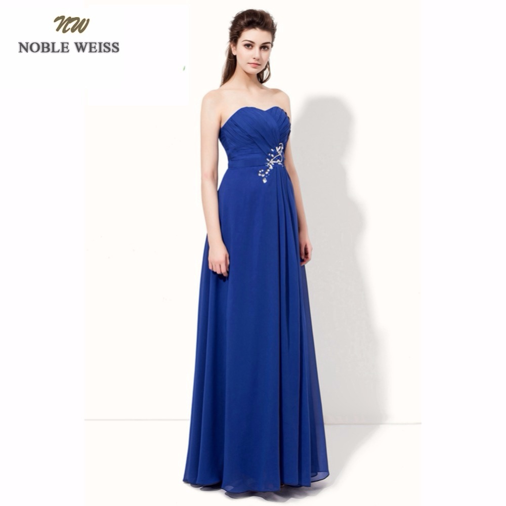 LANSITINA Sexy Evening Dresses Royal Blue A-line Pleat Beading Long Special Occasion Dresses Custom Made Chiffon Formal Dresses