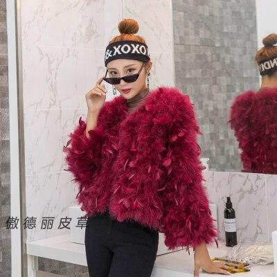 Femmes printemps automne hiver vraie dinde plume veste autruche plume manteau court design thermique mince vêtements d'extérieur femme
