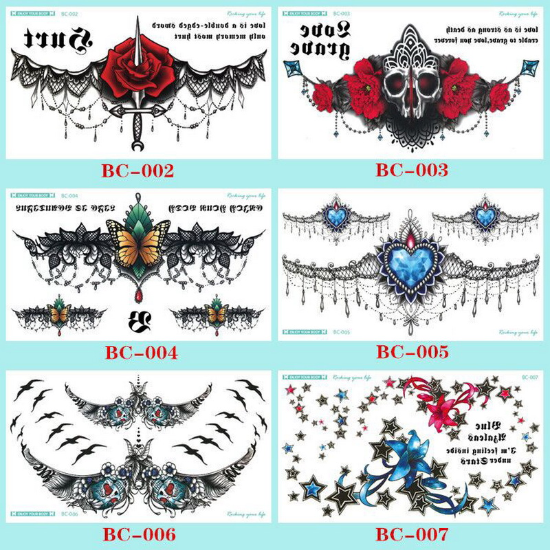 1pc Chest Flash Tattoo 23models large black magical flower Sternum tattoos body paint necklace Under breast 24*13.8cm cool girls 1
