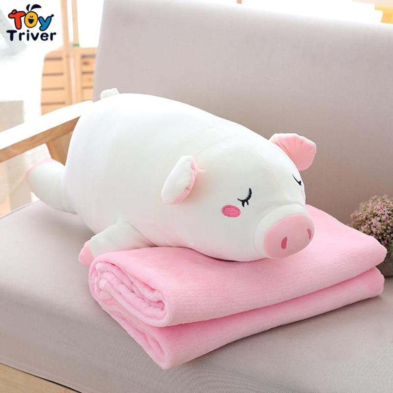 Brinquedo Porco de pelúcia Cobertor Portátil Porcos Boneca Crianças Bebê Chuveiro carro Ar Condicionado manta de Viagem Tapete Escritório Tapete Cochilo Presente de Aniversário Triver